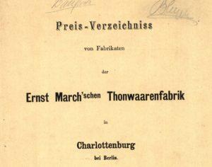 Cover Preisverzeichnis Thonwaarenfabrik