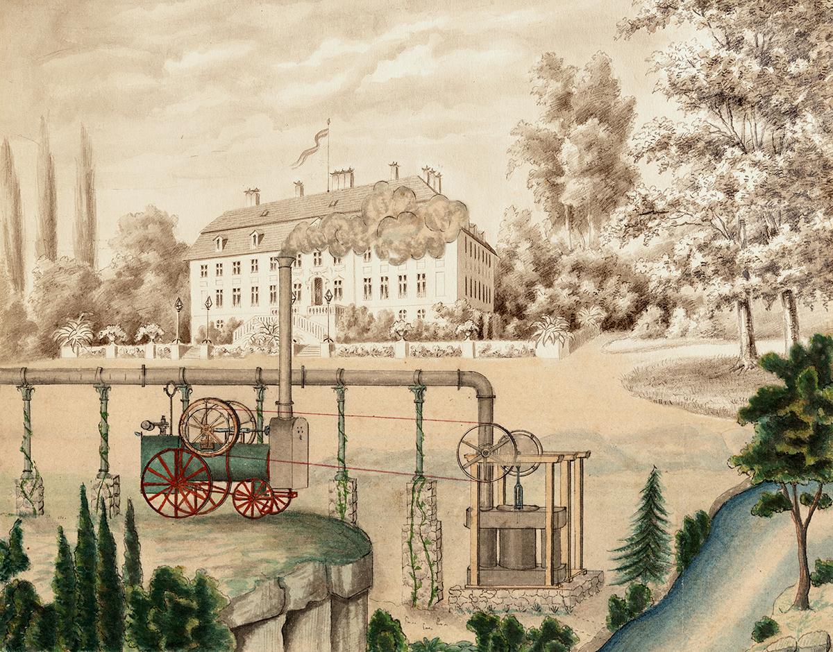 Historische Dampfmaschine vor dem Schloss Branitz