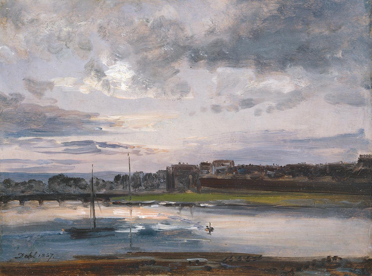 Gemälde von Johan Christian Dahl mit der Elbe und Neustaedter Ufer in Dresden im Abendlicht